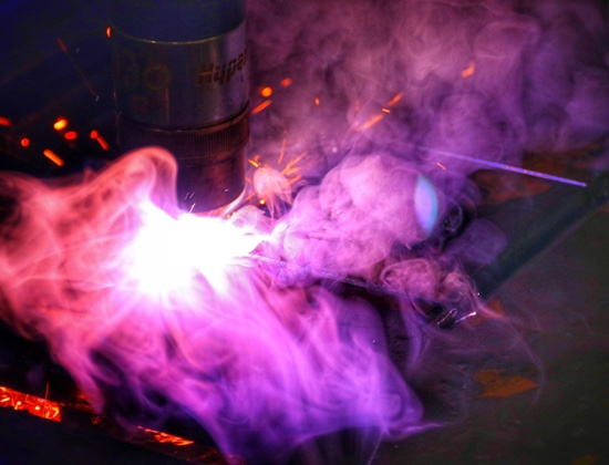 welding machine creating sparks